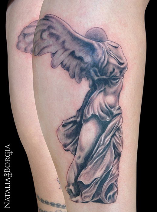 Nike Statue Tattoo by nataliaborgia