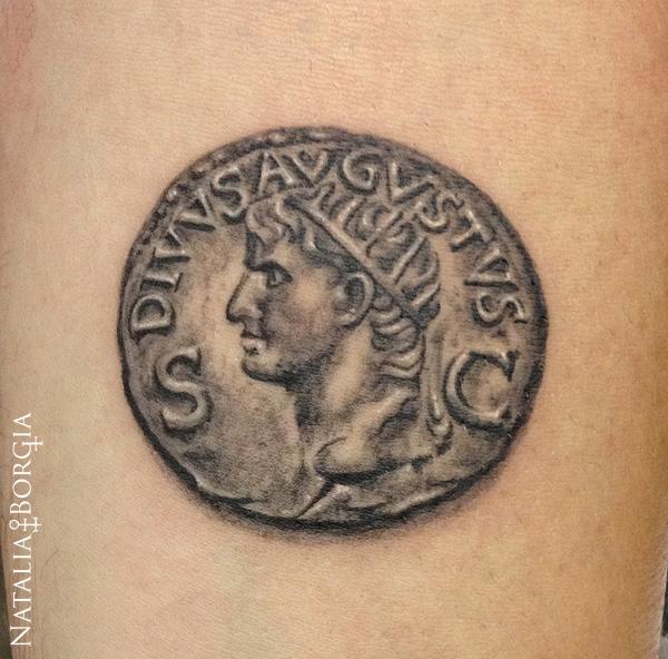 Roman Coin Tattoo by nataliaborgia