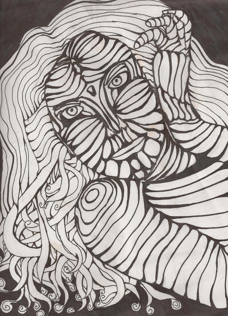 Cross Contour Line Drawing Face : Cross contour woman by brennan redux on deviantart
