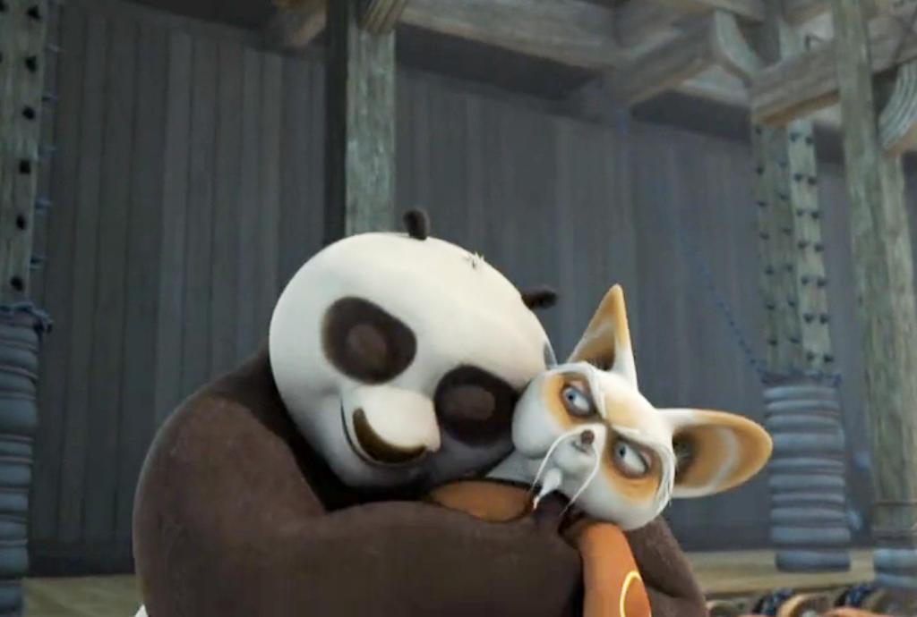 Po finally hugs Shifu ... Kung Fu Panda Po And Shifu