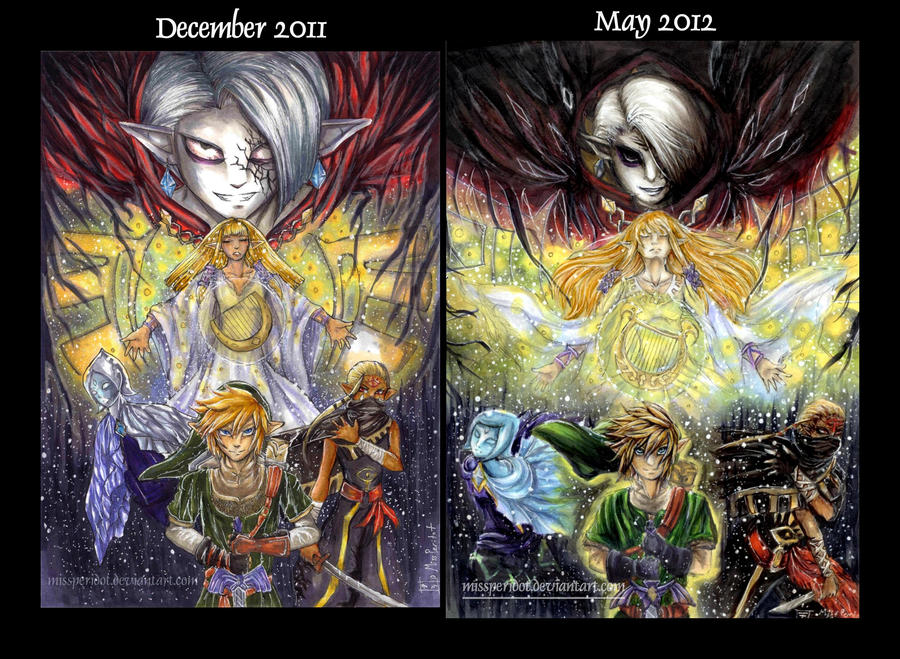 Improvement Comparison- Zelda Group Picture by MissPeridot