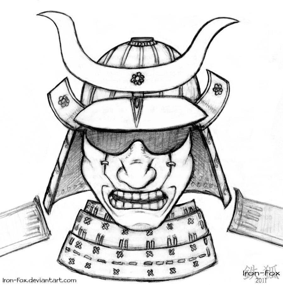 how to draw a samurai helmet