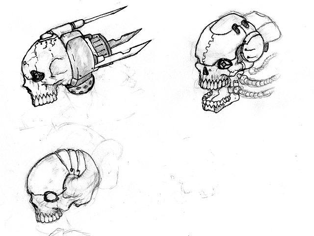 Cyberic Skull Drawings Iron Fox   Voodoo Skull Drawing