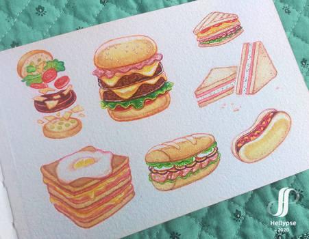 Watercolour sandwiches