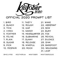 KNItober 2020 prompt list by Hellypse