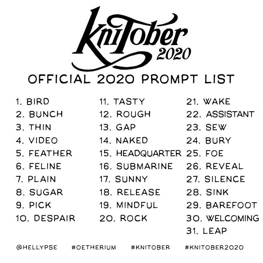 KNItober 2020 prompt list