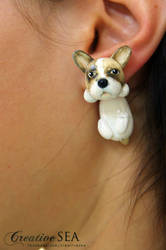 French Bulldog polymer clay earrings
