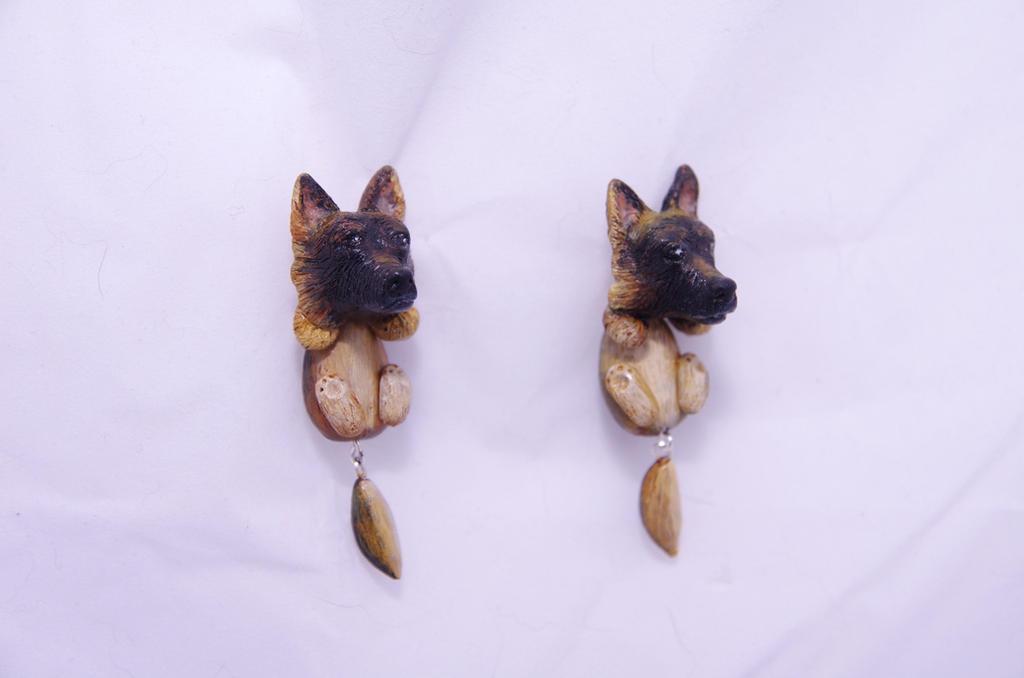 Polymer clay German Shepherd earrings by seandreea