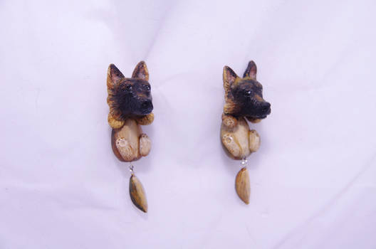 Polymer clay German Shepherd earrings