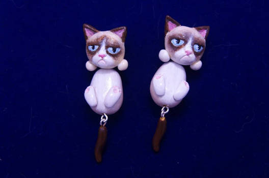 Grumpy cat earrings