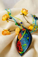 Polymer clay mosaic inlay pendant