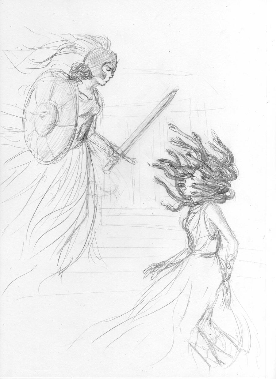 the fight: Athena vs Medusa by sukieblackmore on DeviantArt
