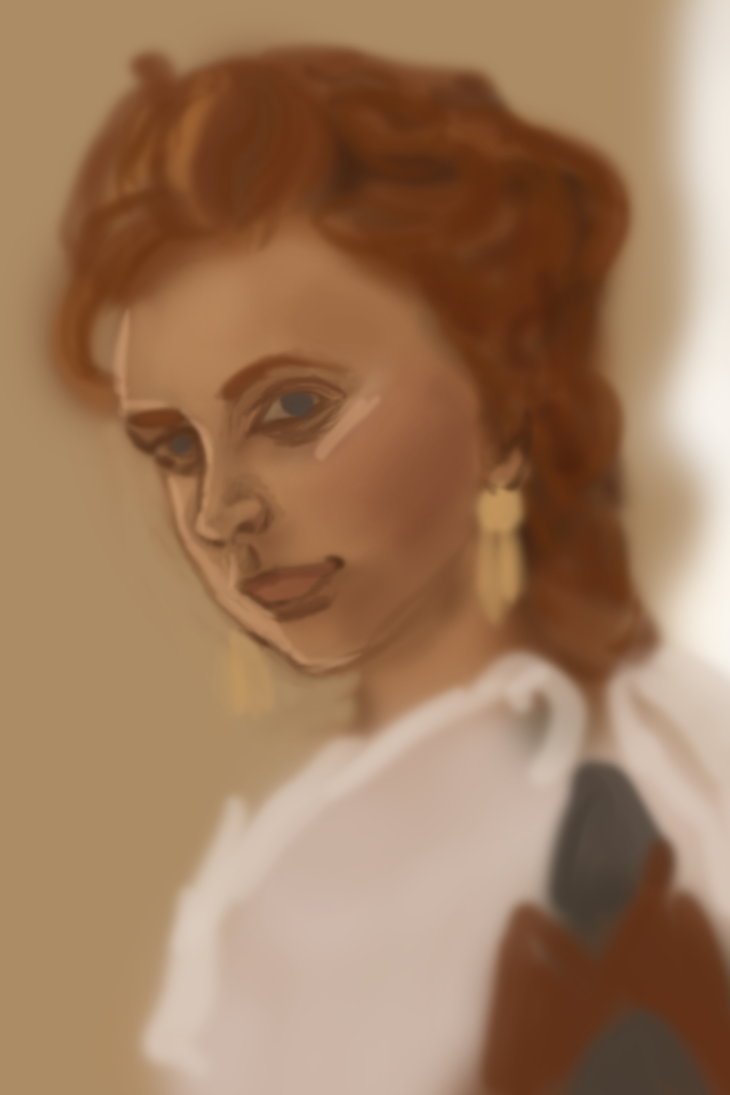 Orange hair portrait wip by MysticForgotten