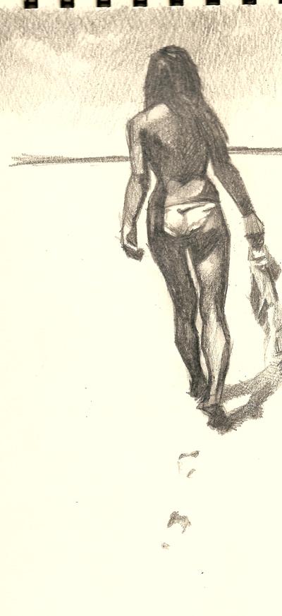girl walking on beach by Kamninetynine