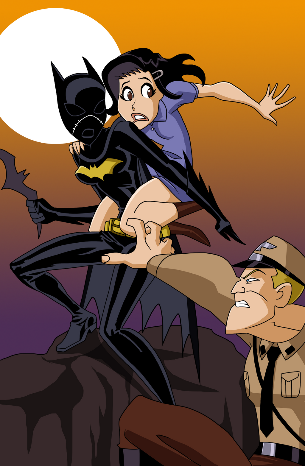 Batgirl rescues Anne Frank from the Nazis by Glee-chan