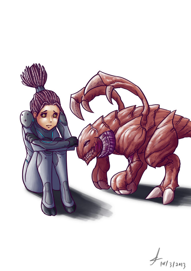 Kerrigan and Zergling by Lutherniel