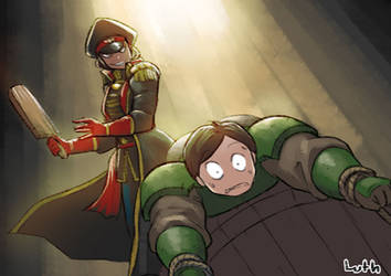 Female commissar spank a young guardsman by Lutherniel
