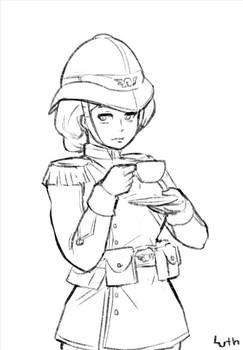 Female Praetorian Guardsman drinking tea