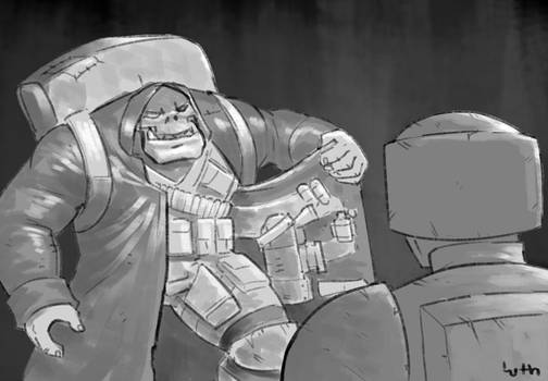 An Ork in a trench coat selling dakka