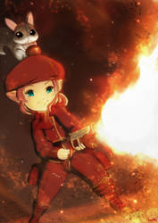 Commission - FFXIV Lalafell Machinist flamethrower