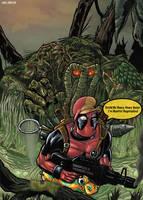 Deadpool vs Man Thing by LiamShalloo