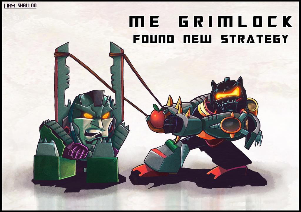 [Pro Art et Fan Art] Artistes à découvrir: Séries Animé Transformers, Films Transformers et non TF - Page 4 Me_grimlock_need_new_strategy_by_limabean01-d463eym