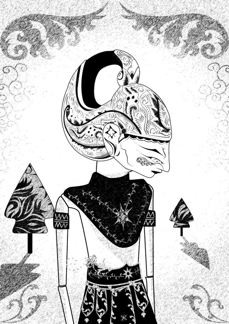 Sketsa Wayang Arjuna Hitam Putih Ki Dalang Rohmad Hadiwijoyo