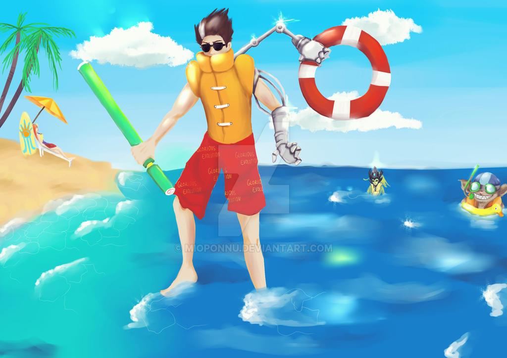 LoL pool party Viktor by mio-san13