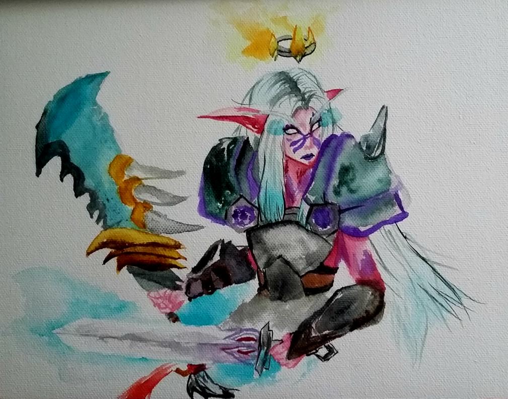 night elf warrior by mio-san13
