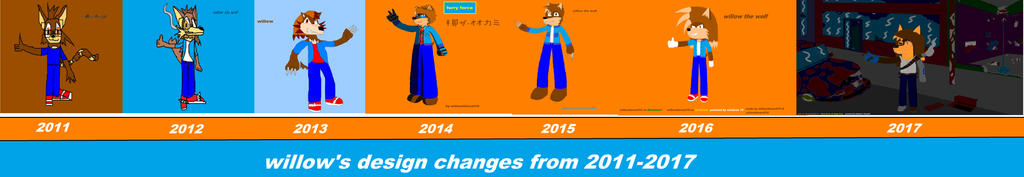 willow's design changes from 2011-2017 by willowthewolf10