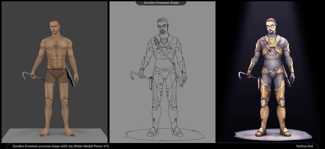 Process steps (Half Life 2, Gordon Freeman) by YeshuaNel