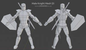Low poly male knight model