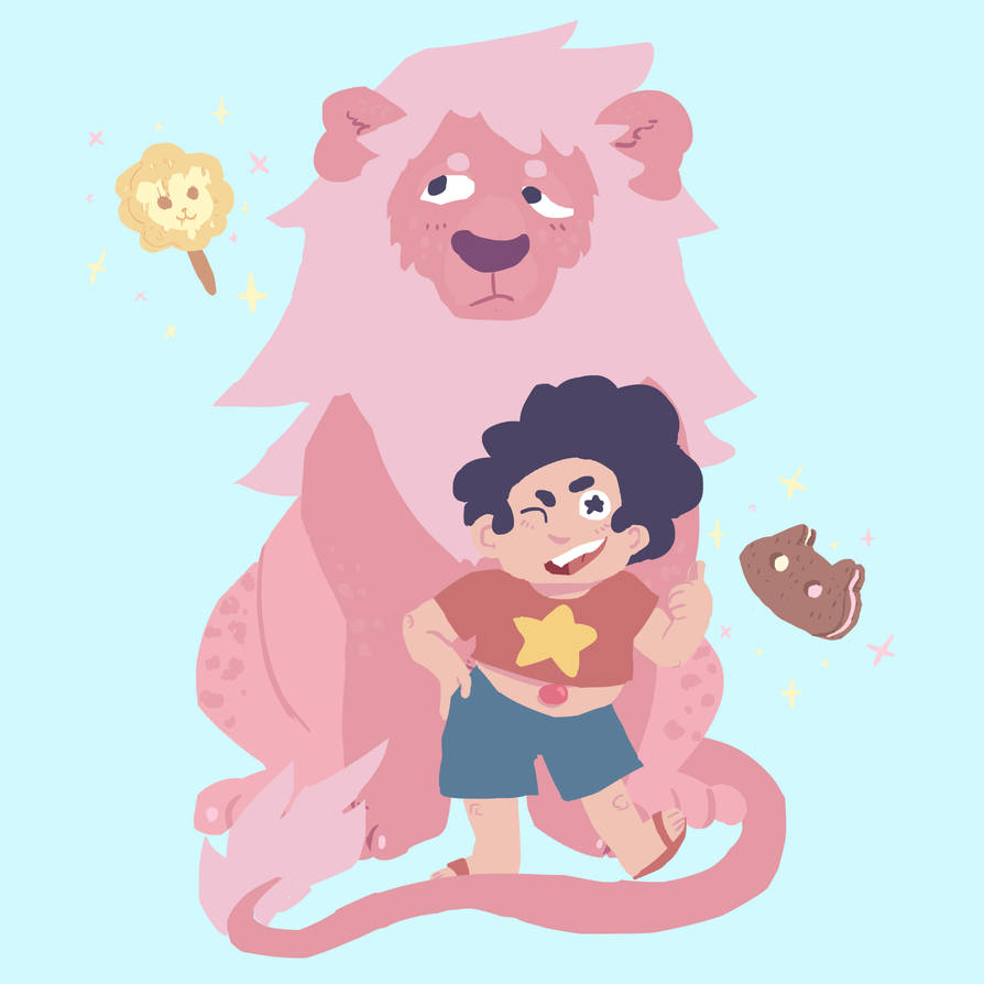 Some more lineless art practice with Steven and Lion and their favourite snacks