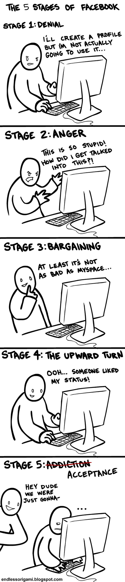 The 5 Stages of Facebook by endlessorigami
