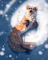 Fox in the Snow by Vawie-Art
