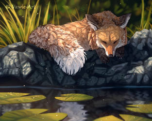 Napping Fox by Vawie-Art