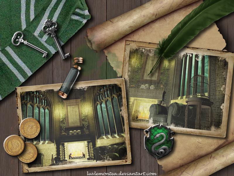 Slytherin's desk by luvlemontea