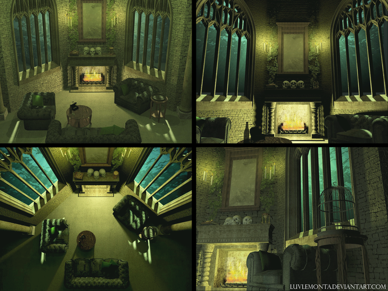 Slytherin common room by luvlemontea. Slytherin House by Whisperwings on DeviantArt