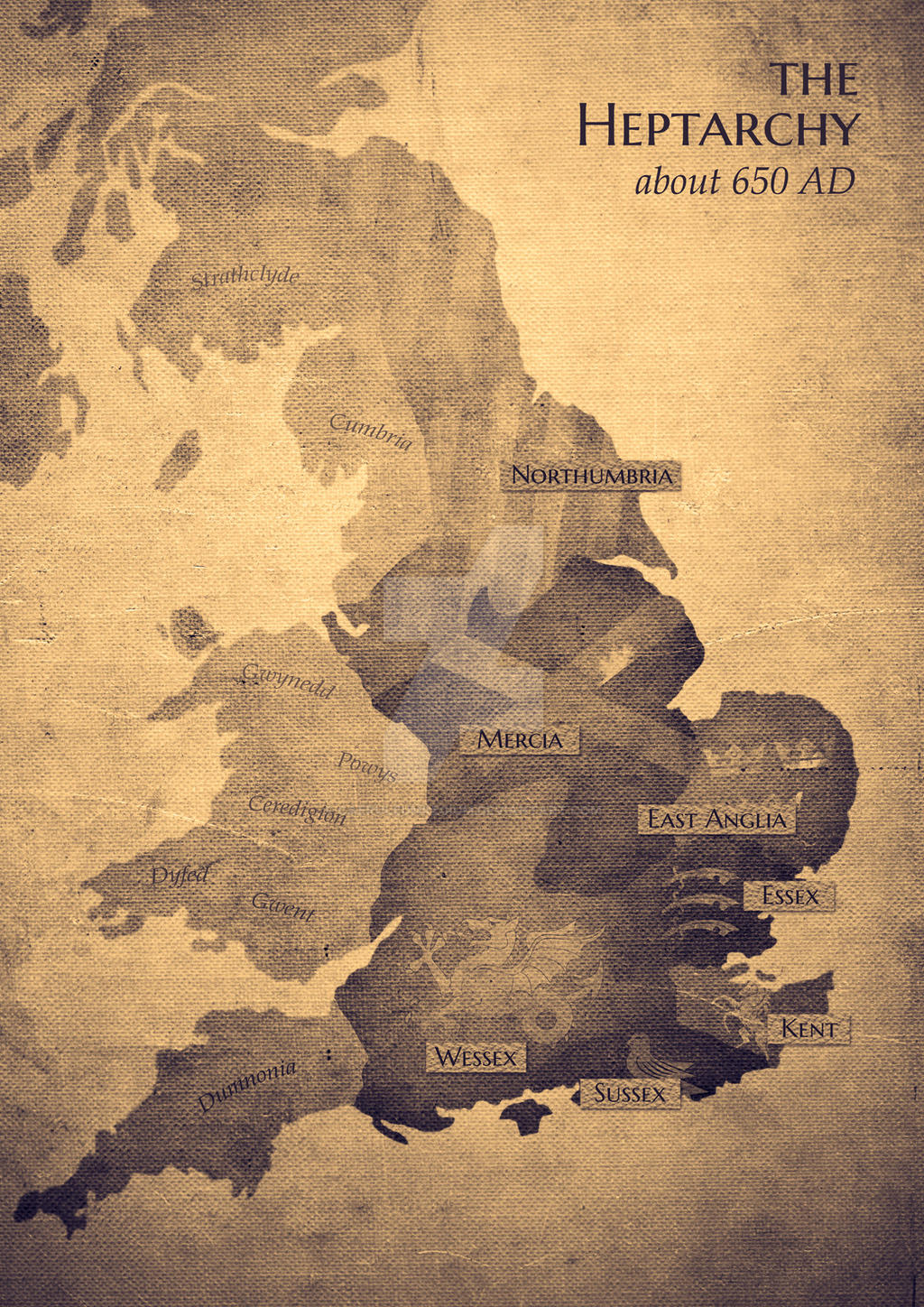 The Heptarchy About AD Map By CaeruleumRegium On DeviantArt - Marriland map