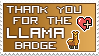 Llama Bagde thanks stamp by izka197