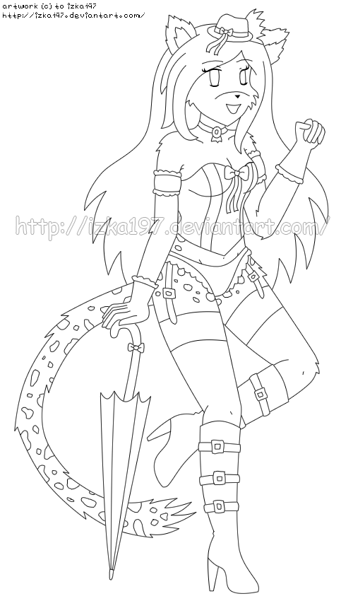 [C] Mahina Pin-Up Lineart: Burlesque Lingerie by izka197
