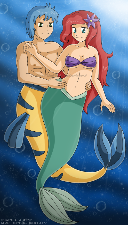[C] Ariel and Flounder by izka197