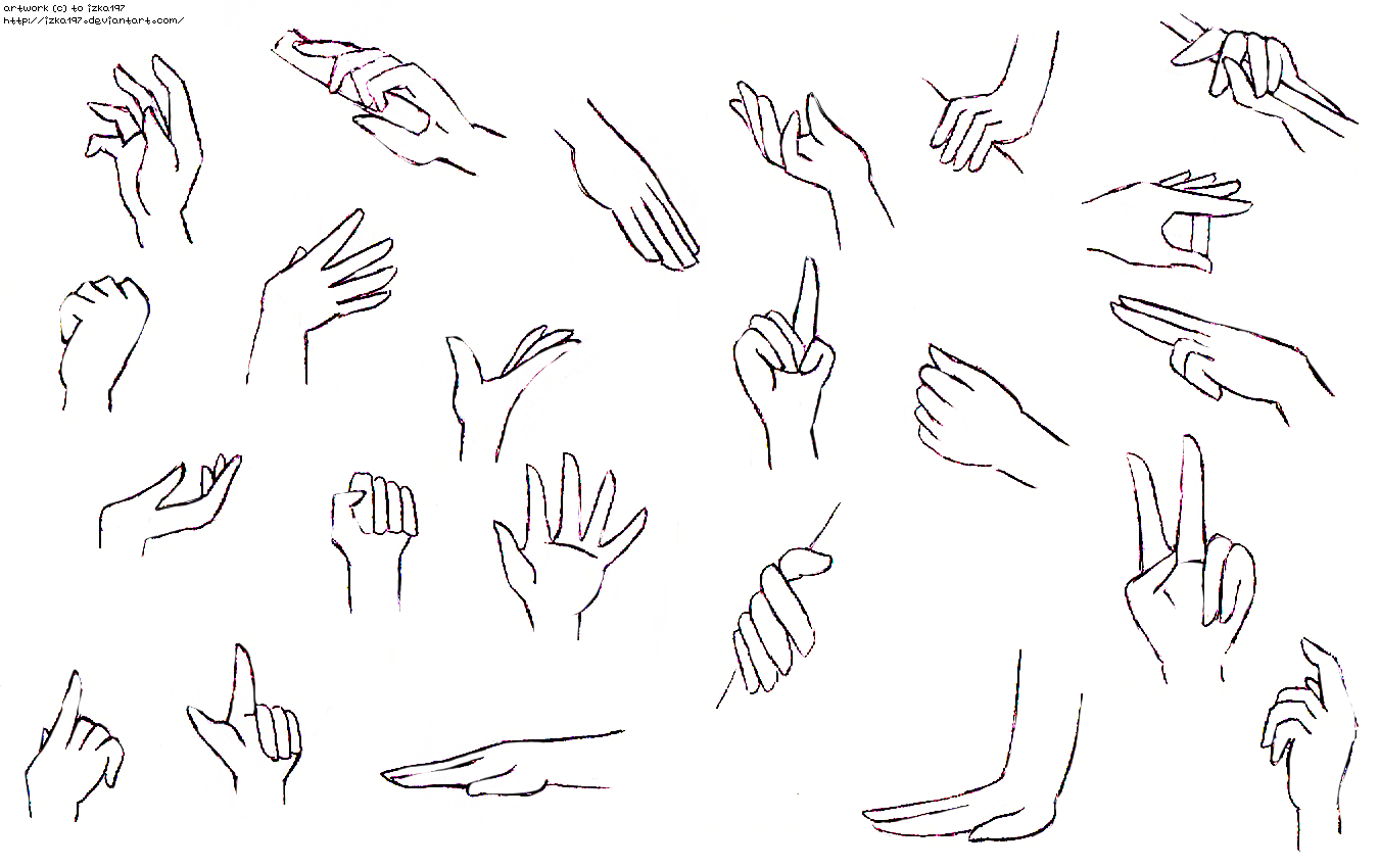 D Line Drawing Hand : Hands practice ii by izka on deviantart
