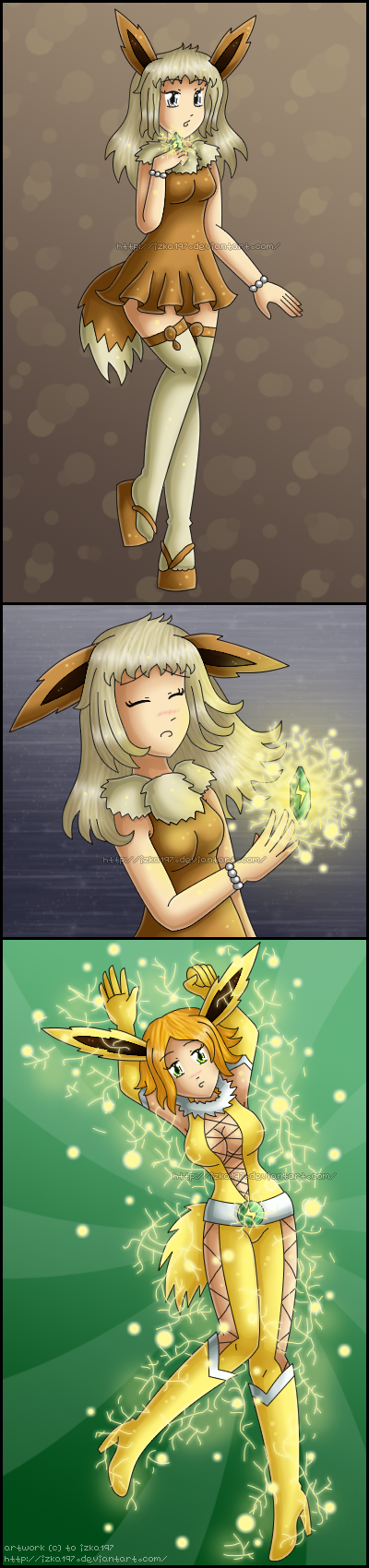[Commission] Eevee evolves into Jolteon by izka197