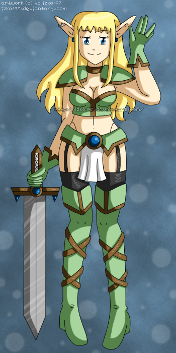 [CLOSED] Fantasy Adoptable: Elf Warrior by izka197
