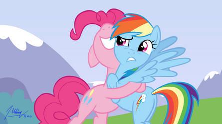 Pinkie Pie Hugging Rainbow Dash [With Background] by SNX11
