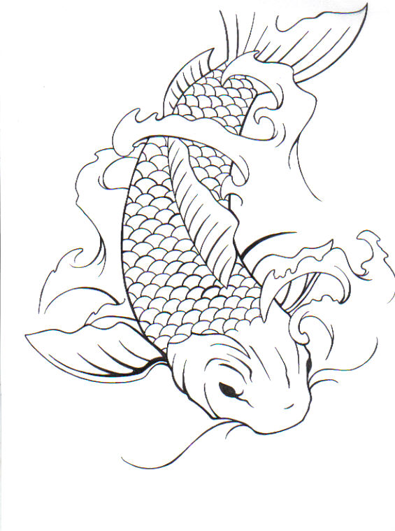 Line Drawing Koi Fish : Koi fish by darkphoenix on deviantart