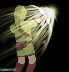 LoZ: Link shooting light arrow