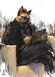 sketching German Shepherd by racoonwolf