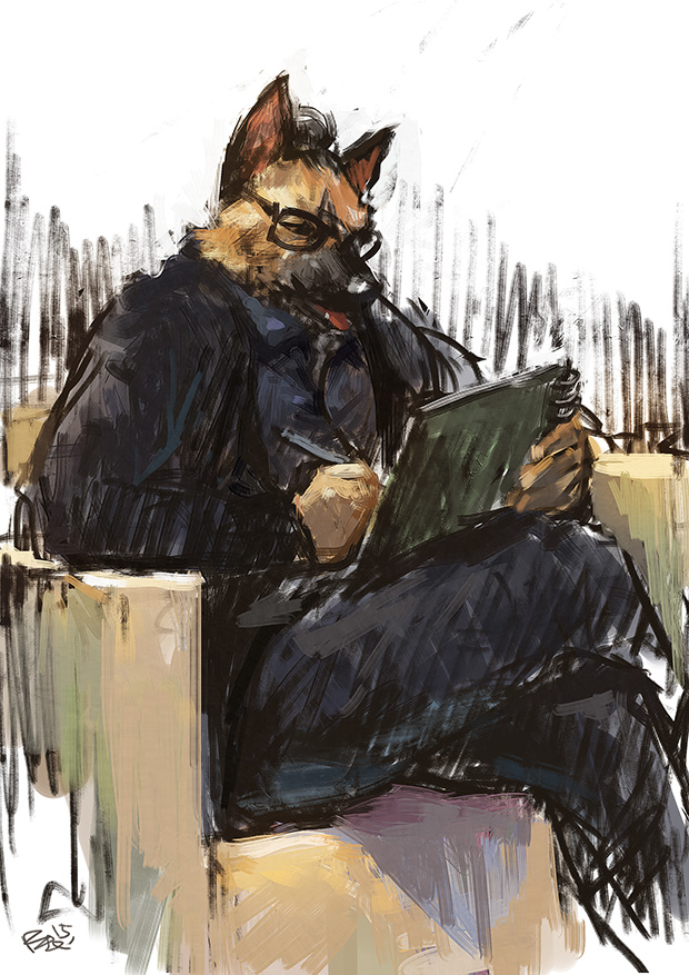 sketching German Shepherd by racoonwolf